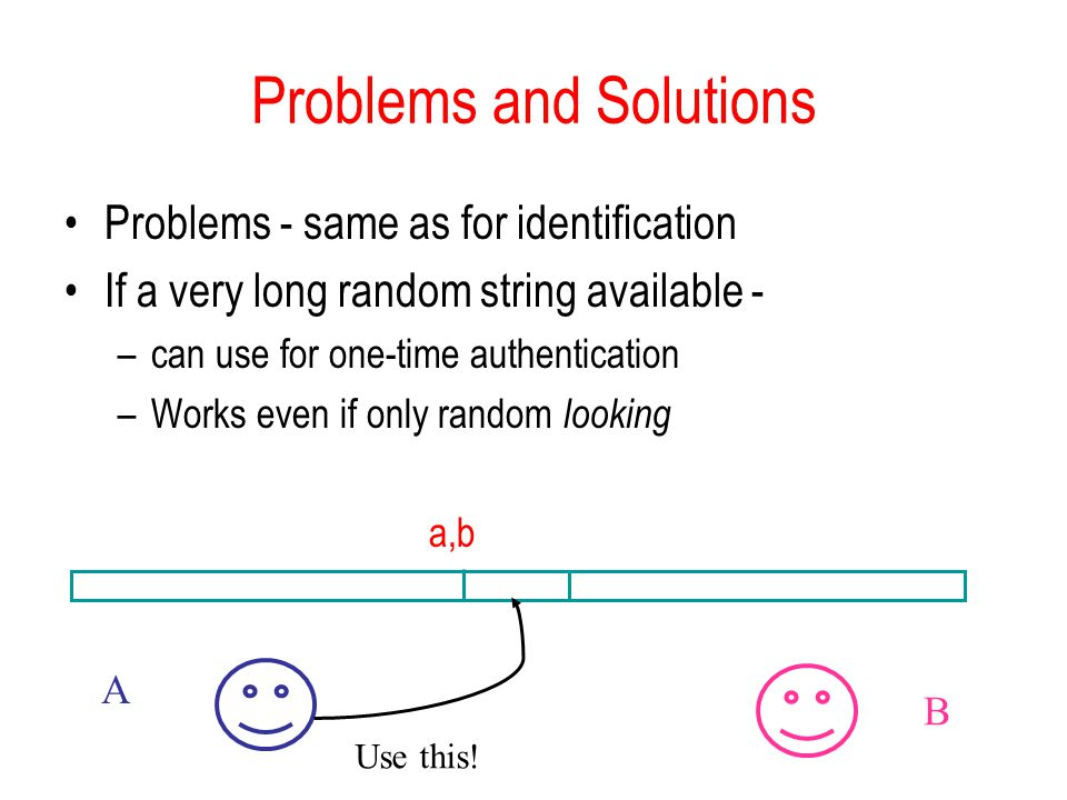 Problems and Solutions Problems - same as for identification If a very long random string available - –can use for one-time authentication –Works even if only random looking a,b   Use this!