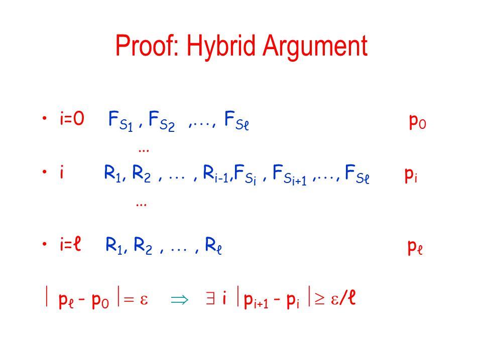 Proof: Hybrid Argument i=0 F S 1, F S 2, , F S ℓ p 0 … i R 1, R 2, , R i-1,F S i, F S i+1, , F S ℓ p i … i=ℓ R 1, R 2, , R ℓ p ℓ  p ℓ - p 0     i  p i+1 - p i   /ℓ