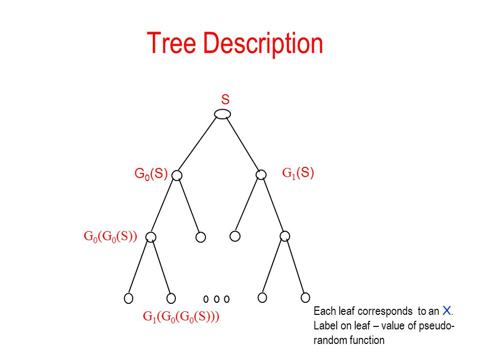 Tree Description G 0 (S) G 1 (S) S G 0 (G 0 (S)) G 1 (G 0 (G 0 (S))) Each leaf corresponds to an X.
