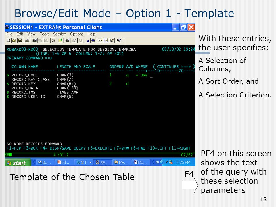 13 Browse/Edit Mode – Option 1 - Template Template of the Chosen Table F4 With these entries, the user specifies: A Selection of Columns, A Sort Order, and A Selection Criterion.