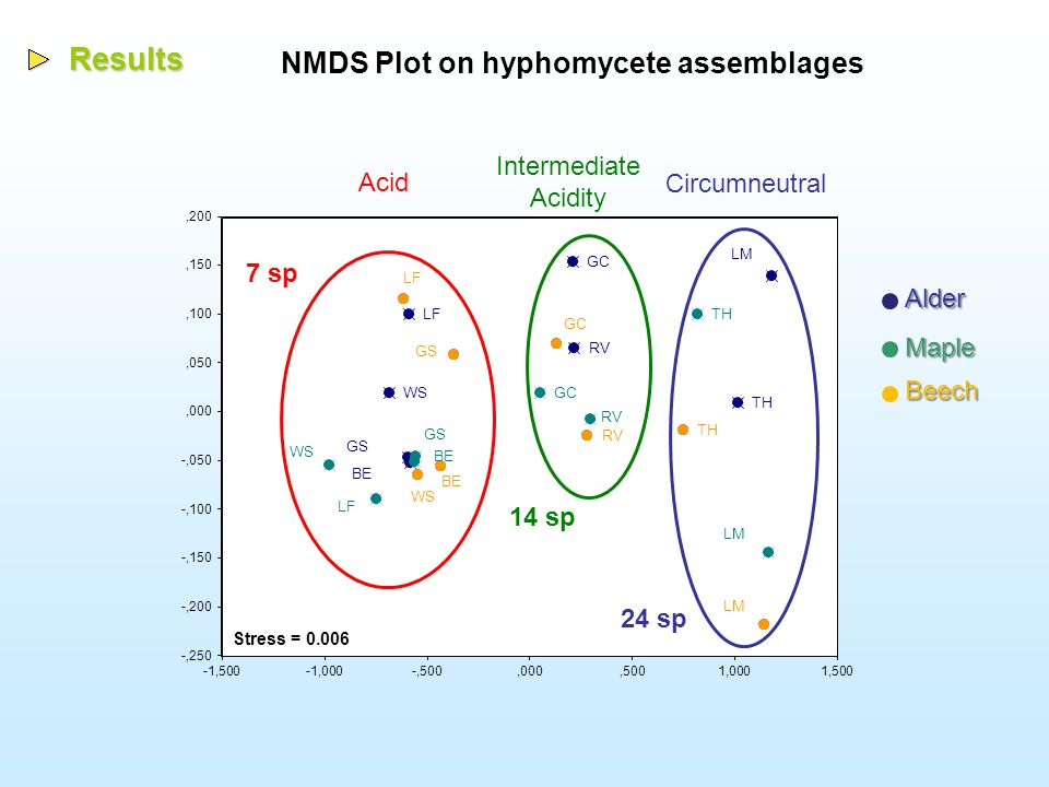 Results NMDS Plot on hyphomycete assemblages AlderBeech Maple Acid Intermediate Acidity Circumneutral Stress = 0.006 24 sp 14 sp 7 sp