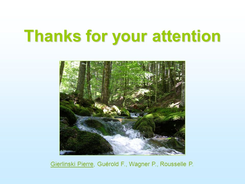 Thanks for your attention Gierlinski Pierre, Guérold F., Wagner P., Rousselle P.