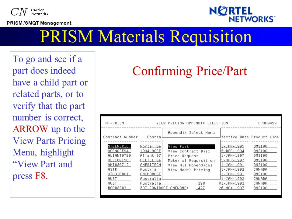 PRISM /SMQT Management PRISM Materials Requisition That does not mean you will lose any work you've put in to the list. You have the option to save th