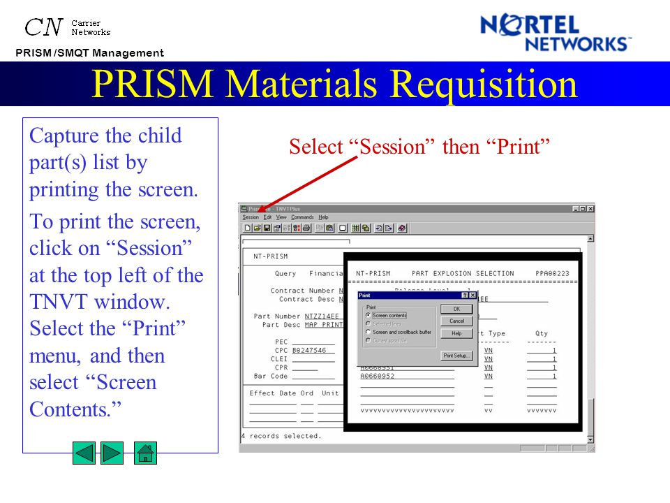 PRISM /SMQT Management PRISM Materials Requisition Exploding the part displays a list of the current price releases.