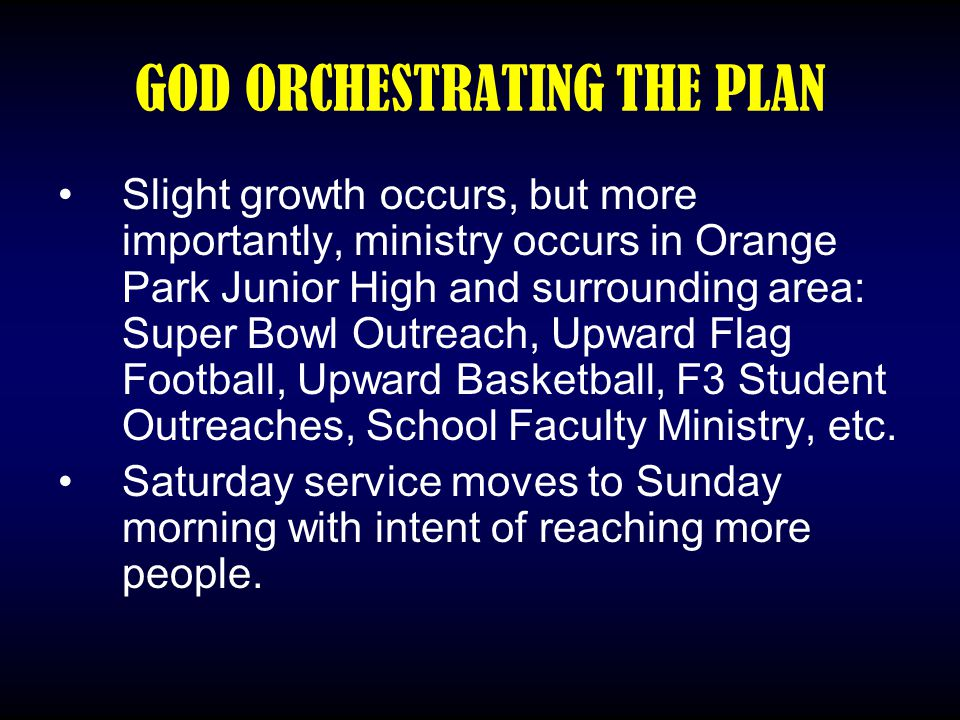 GOD ORCHESTRATING THE PLAN Slight growth occurs, but more importantly, ministry occurs in Orange Park Junior High and surrounding area: Super Bowl Out
