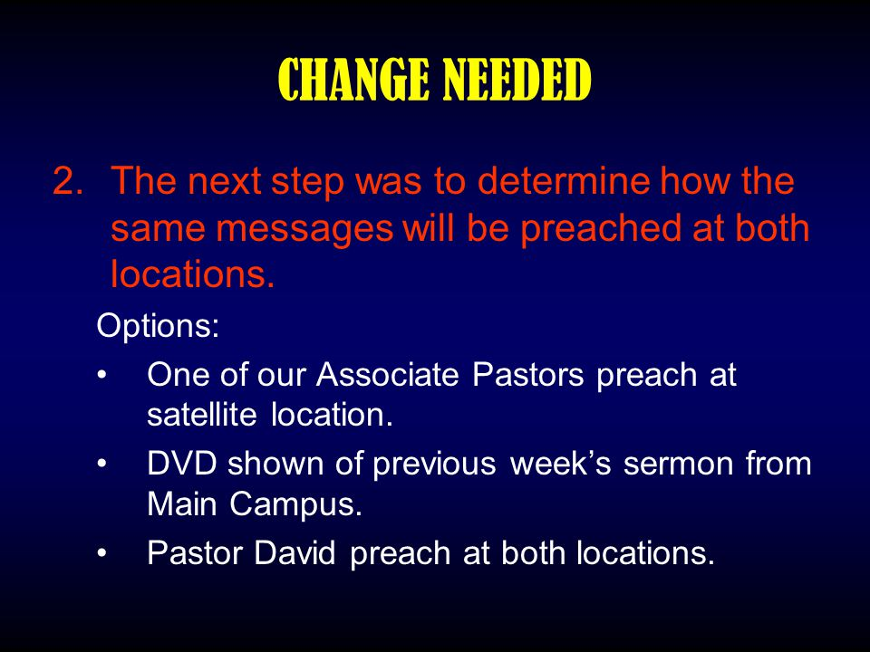 CHANGE NEEDED 2.The next step was to determine how the same messages will be preached at both locations. Options: One of our Associate Pastors preach