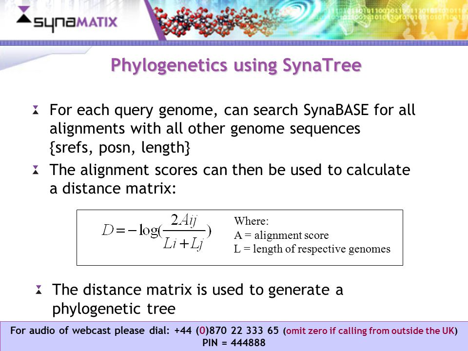 Copyright © 2006 Synamatix sdn bhd (538481-U) For audio of webcast please dial: +44 (0)870 22 333 65 (omit zero if calling from outside the UK) PIN = 444888 Phylogenetics using SynaTree For each query genome, can search SynaBASE for all alignments with all other genome sequences {srefs, posn, length} The alignment scores can then be used to calculate a distance matrix: The distance matrix is used to generate a phylogenetic tree Where: A = alignment score L = length of respective genomes