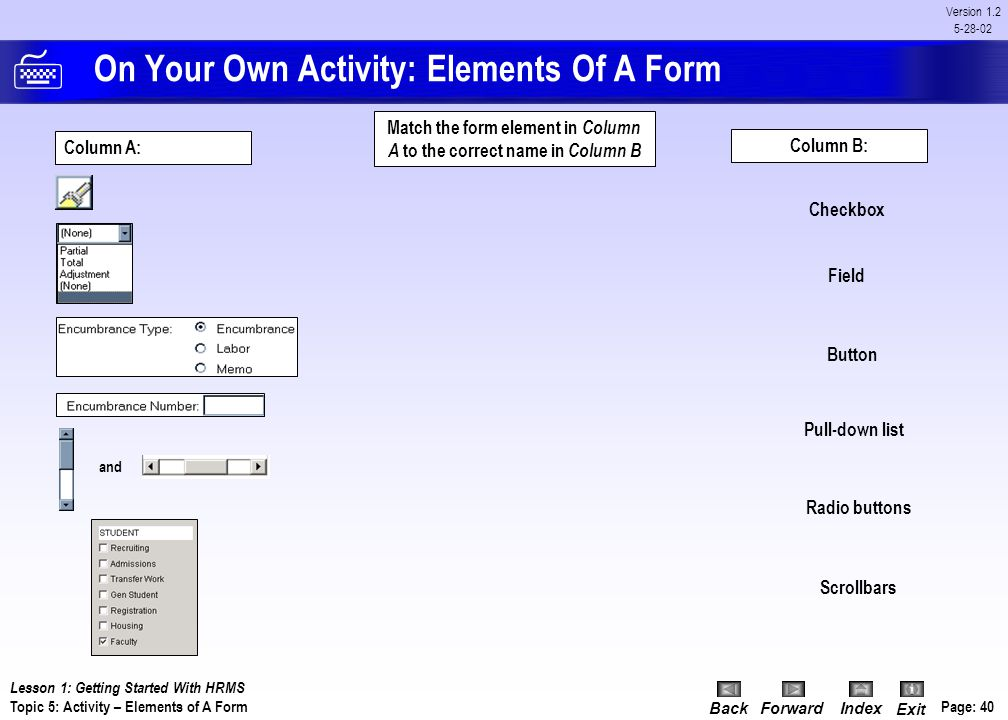 BackForwardIndex Exit Page: 39 Version 1.2 5-28-02 Discussion: Scroll Bars Scroll bars are used to display overflow information when a form has more i