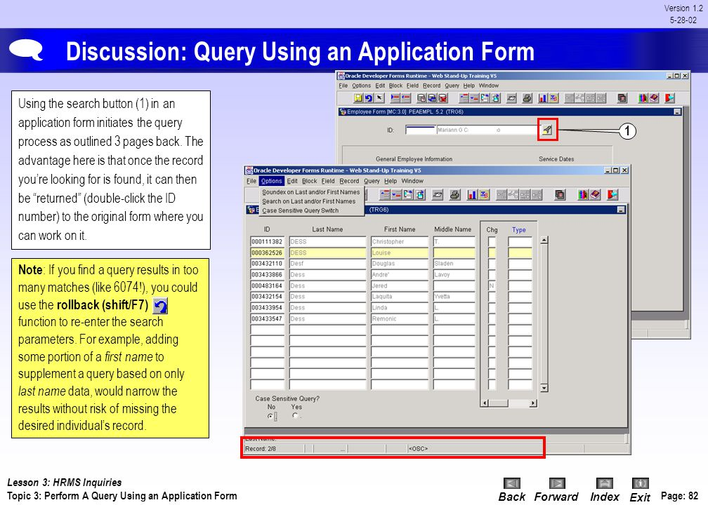 BackForwardIndex Exit Page: 81 Version 1.2 5-28-02 Results: Perform a Query Using an Inquiry Form Additional query / search options are listed on the