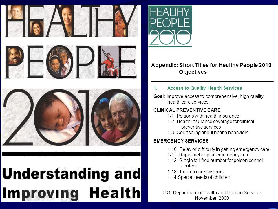 Appendix: Short Titles for Healthy People 2010 Objectives 1.Access to Quality Health Services Goal: Improve access to comprehensive, high-quality health care services.
