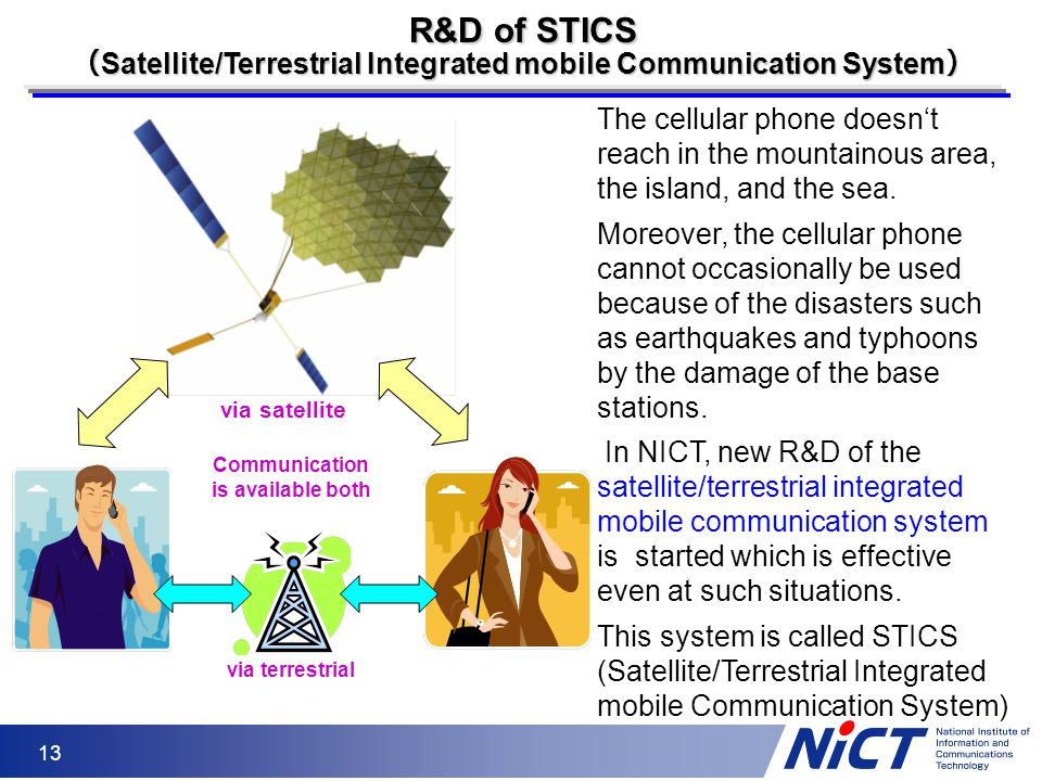 13 R&D of STICS ( Satellite/Terrestrial Integrated mobile Communication System ) The cellular phone doesn't reach in the mountainous area, the island,