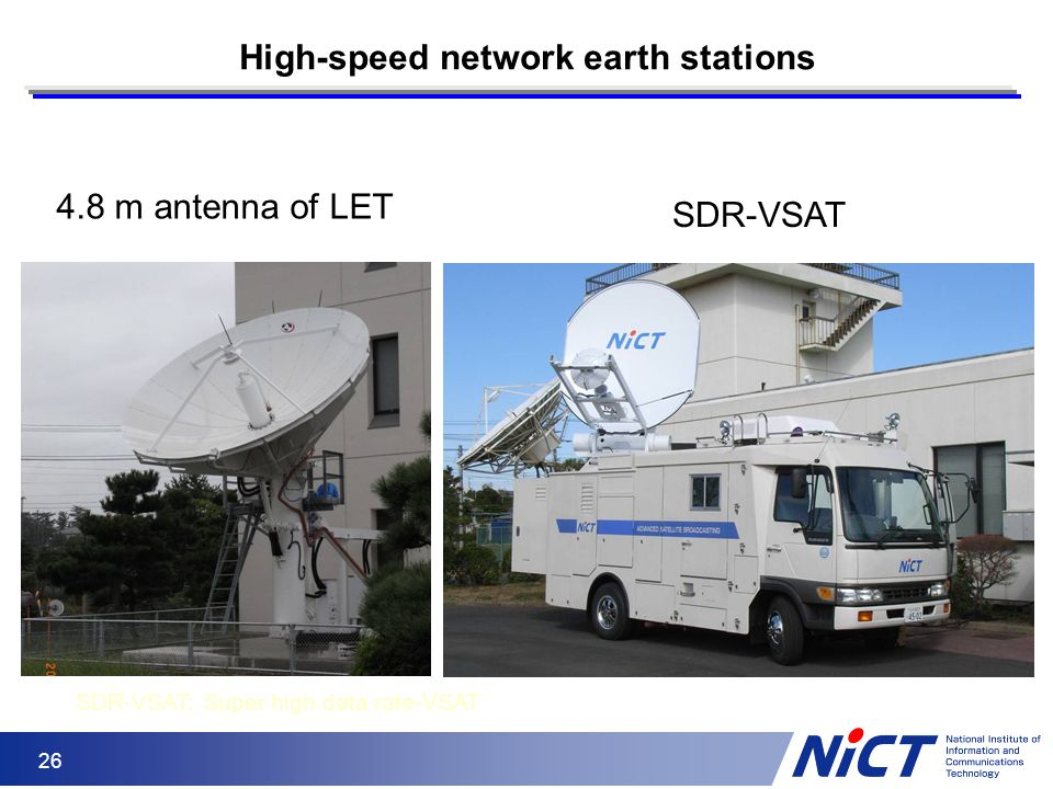26 High-speed network earth stations SDR-VSAT: Super high data rate-VSAT SDR-VSAT 4.8 m antenna of LET