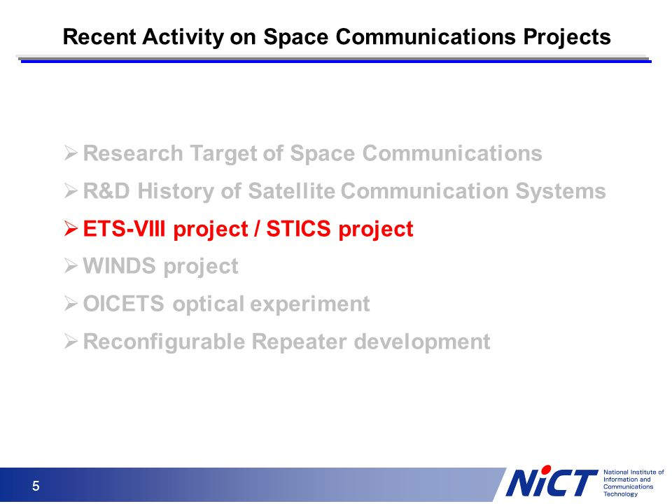 5  Research Target of Space Communications  R&D History of Satellite Communication Systems  ETS-VIII project / STICS project  WINDS project  OICE
