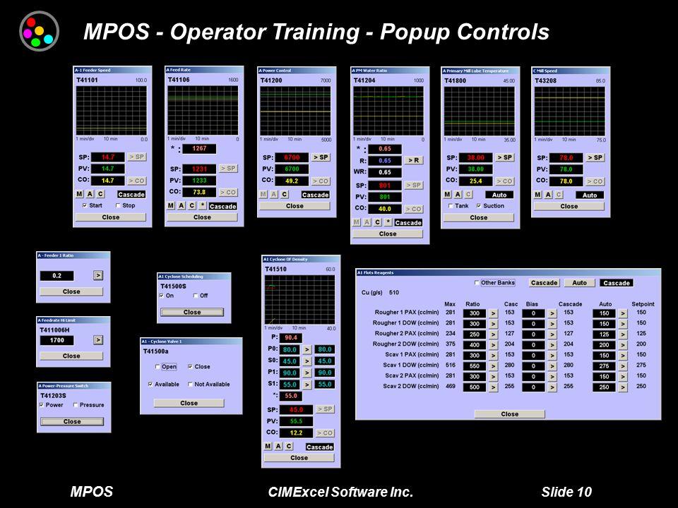 MPOS CIMExcel Software Inc. Slide 10 MPOS - Operator Training - Popup Controls