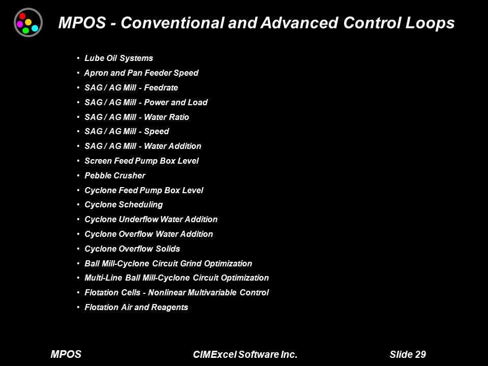 MPOS CIMExcel Software Inc. Slide 29 MPOS - Conventional and Advanced Control Loops Lube Oil Systems Lube Oil Systems Apron and Pan Feeder Speed Apron