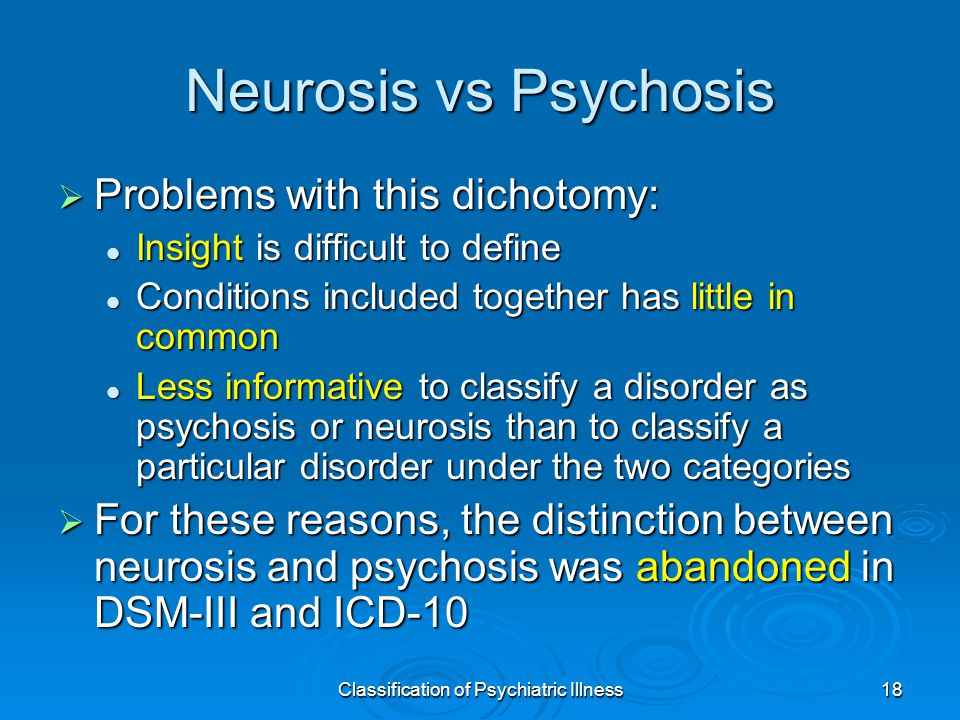 Classification of Psychiatric Illness18 Neurosis vs Psychosis  Problems with this dichotomy: Insight is difficult to define Insight is difficult to define Conditions included together has little in common Conditions included together has little in common Less informative to classify a disorder as psychosis or neurosis than to classify a particular disorder under the two categories Less informative to classify a disorder as psychosis or neurosis than to classify a particular disorder under the two categories  For these reasons, the distinction between neurosis and psychosis was abandoned in DSM-III and ICD-10