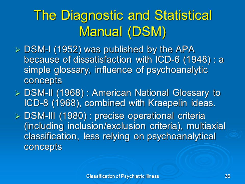 Classification of Psychiatric Illness35 The Diagnostic and Statistical Manual (DSM)  DSM-I (1952) was published by the APA because of dissatisfaction with ICD-6 (1948) : a simple glossary, influence of psychoanalytic concepts  DSM-II (1968) : American National Glossary to ICD-8 (1968), combined with Kraepelin ideas.