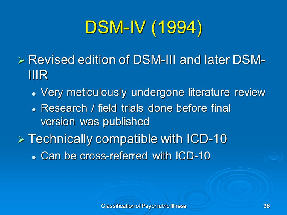 Classification of Psychiatric Illness36 DSM-IV (1994)  Revised edition of DSM-III and later DSM- IIIR Very meticulously undergone literature review Very meticulously undergone literature review Research / field trials done before final version was published Research / field trials done before final version was published  Technically compatible with ICD-10 Can be cross-referred with ICD-10 Can be cross-referred with ICD-10