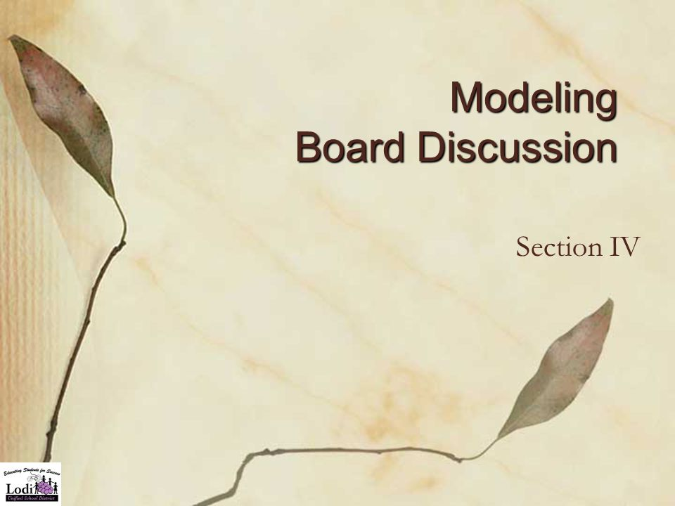 Modeling Board Discussion Section IV