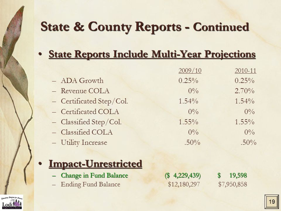 State & County Reports - Continued State Reports Include Multi-Year ProjectionsState Reports Include Multi-Year Projections 2009/102010-11 – –ADA Grow