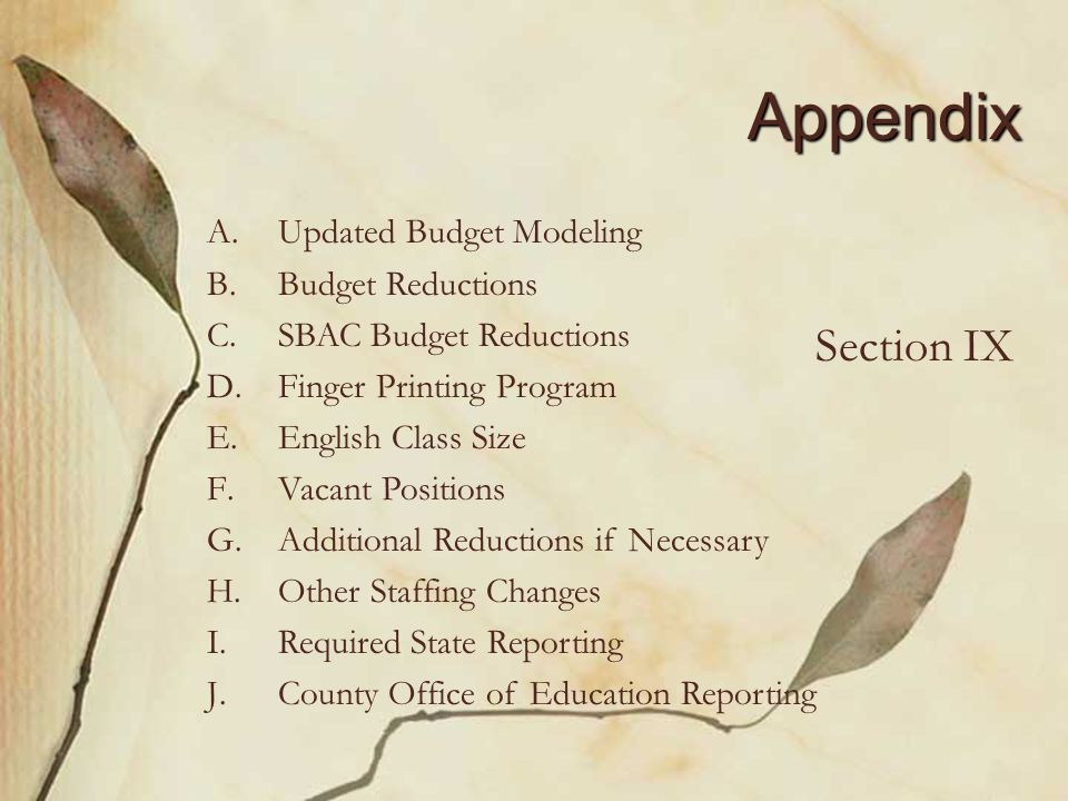 Appendix A. A.Updated Budget Modeling B. B.Budget Reductions C.