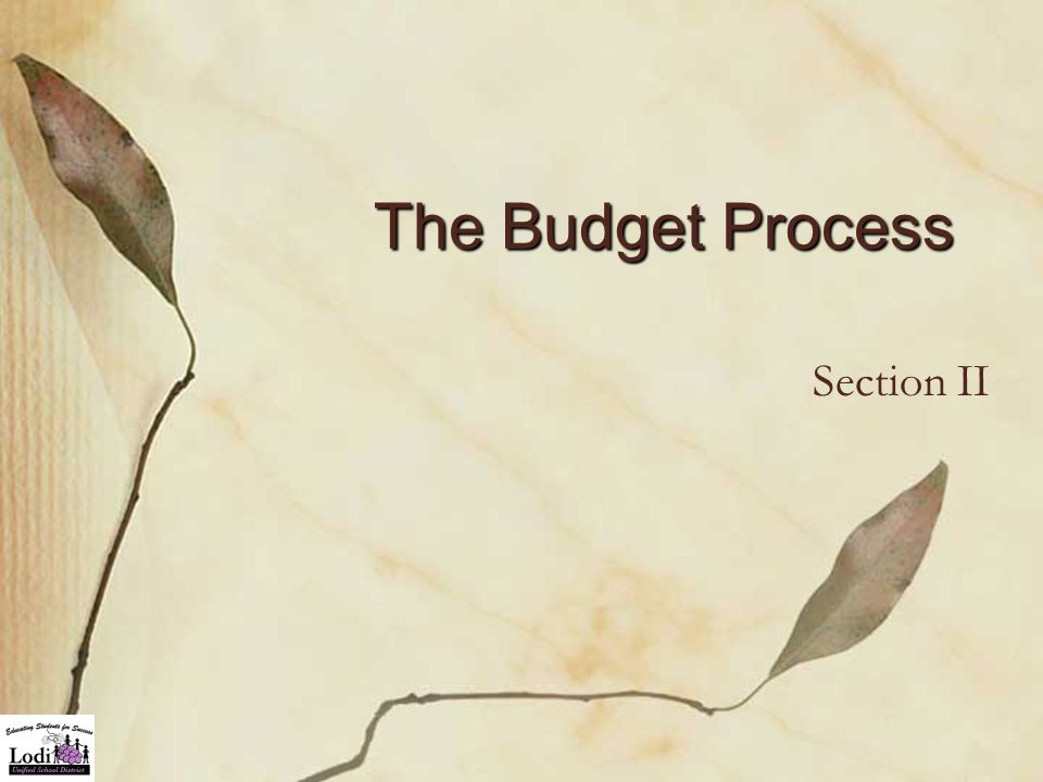 The Budget Process Section II