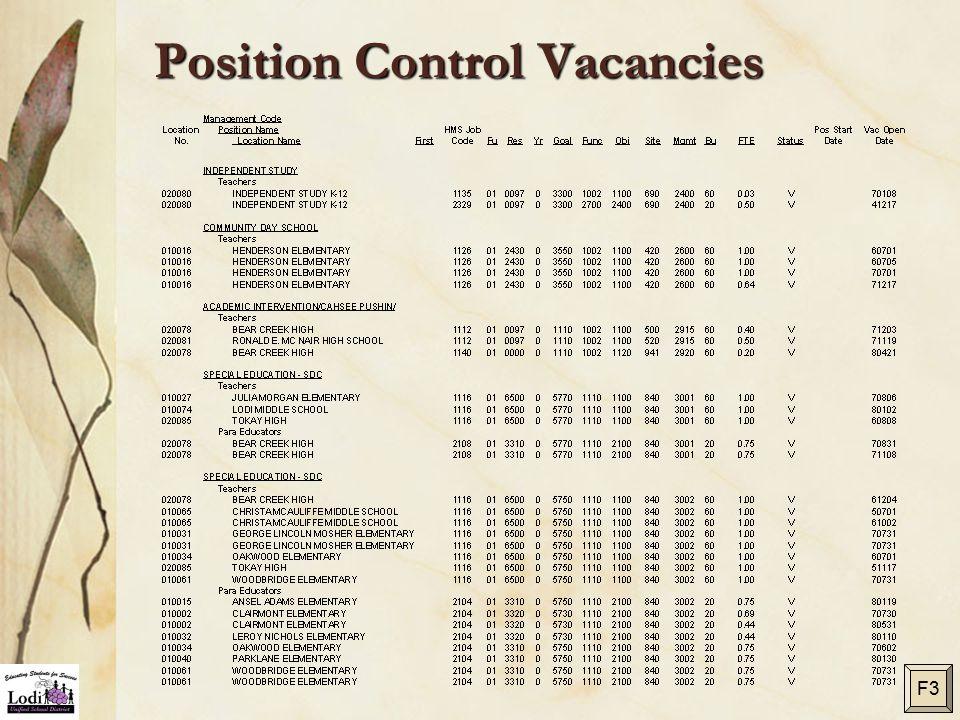 Position Control Vacancies F3
