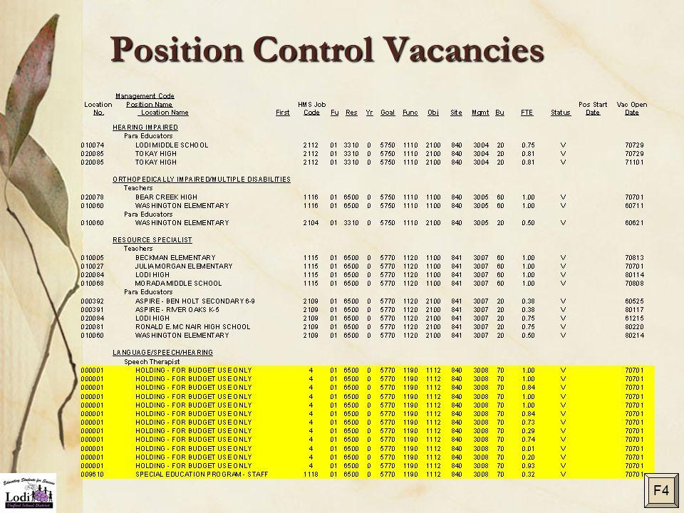 Position Control Vacancies F4