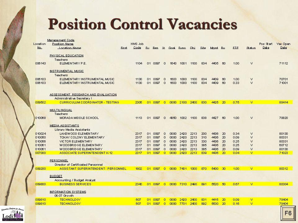 Position Control Vacancies F6
