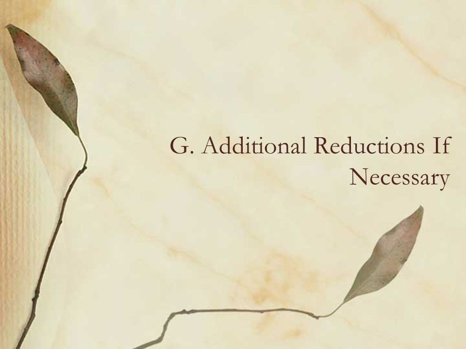 G. Additional Reductions If Necessary
