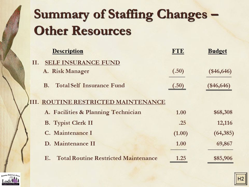 Summary of Staffing Changes – Other Resources A. Facilities & Planning Technician$68,308 B.