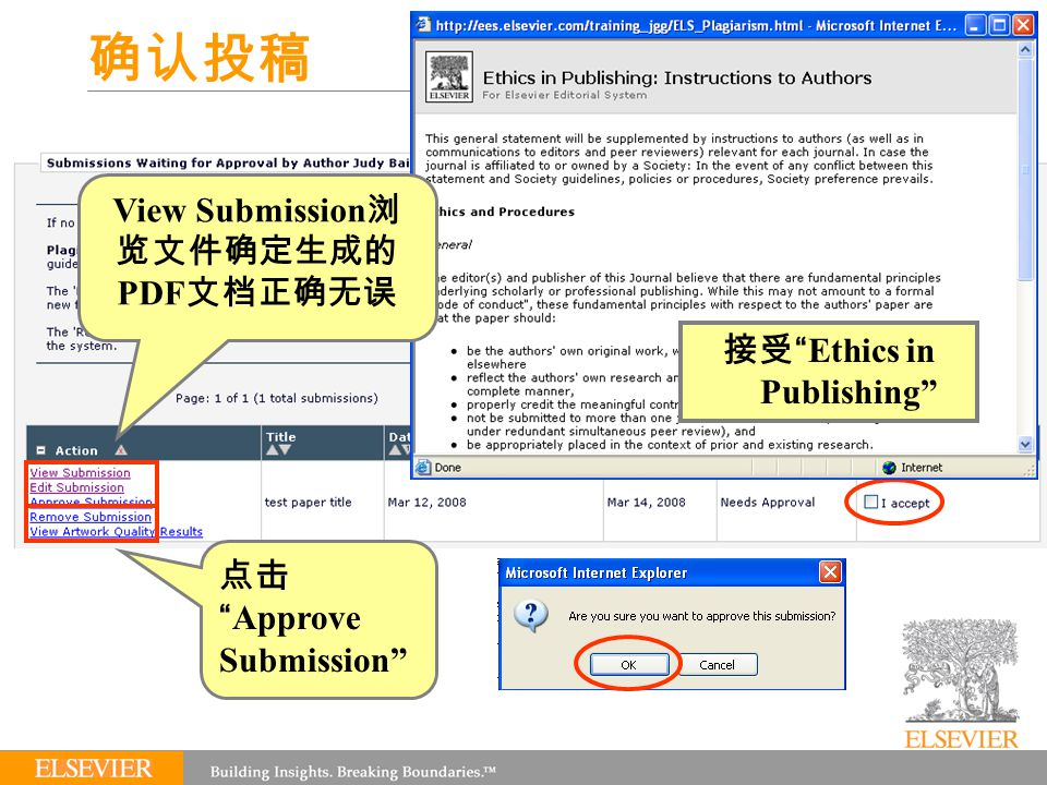 确认投稿 View Submission 浏 览文件确定生成的 PDF 文档正确无误 接受 Ethics in Publishing 点击 Approve Submission