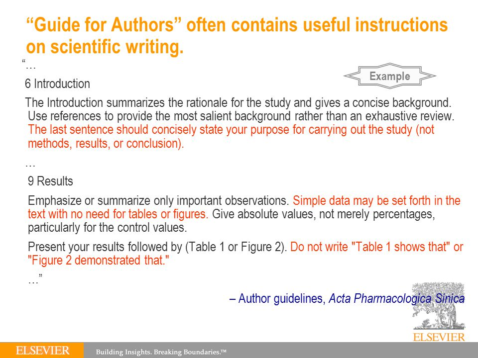 Guide for Authors often contains useful instructions on scientific writing.