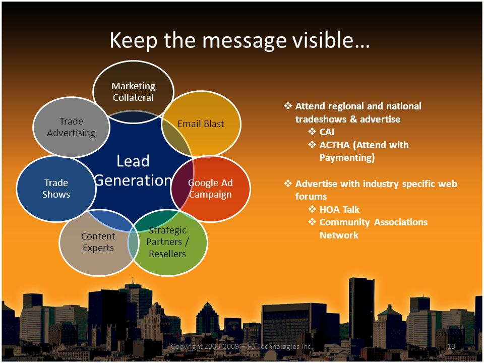 Keep the message visible…  Attend regional and national tradeshows & advertise  CAI  ACTHA (Attend with Paymenting)  Advertise with industry speci