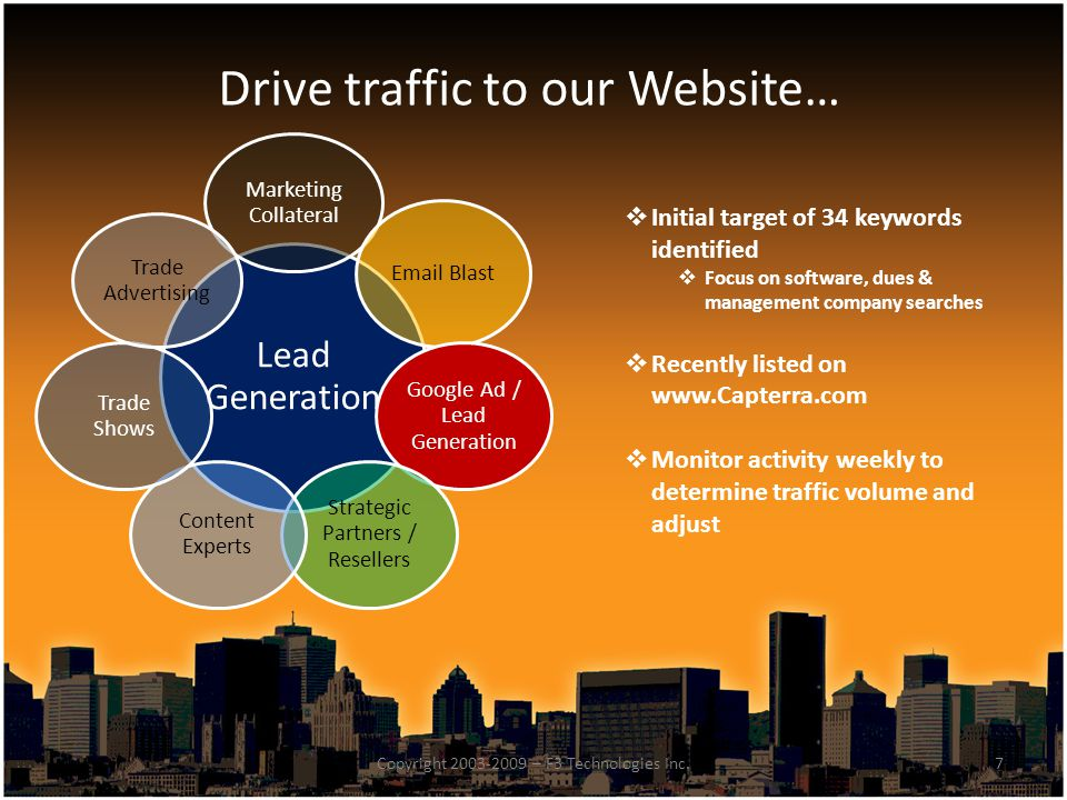 Drive traffic to our Website…  Initial target of 34 keywords identified  Focus on software, dues & management company searches  Recently listed on www.Capterra.com  Monitor activity weekly to determine traffic volume and adjust 7Copyright 2003-2009 – F3 Technologies Inc.