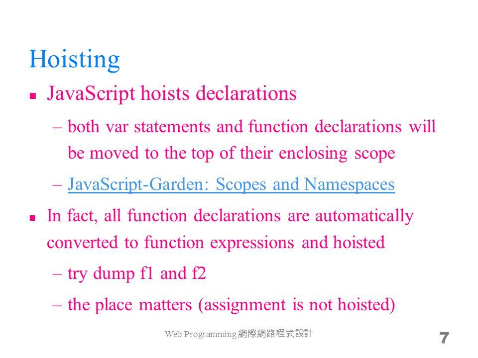 sum() var sum = function($){ if (0 == $.length) return 0; return $[0] + sum($.slice(1)); }; Yes, no loop, everything is recursive –most FP languages optimize tail-recursion with loop –What is tail-recursion?What is tail-recursion.