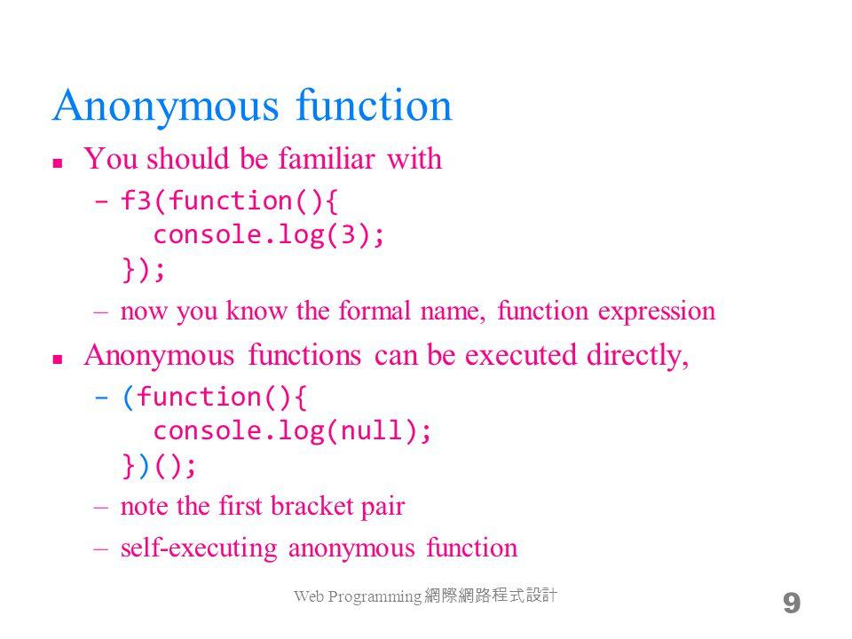 The this problem f12 = f11.add; f12(12); f12(12).sub(12); console.log(f11.add(11)); console.log(f12(12)); Anyway, this is really a problem in practice Web Programming 網際網路程式設計 20