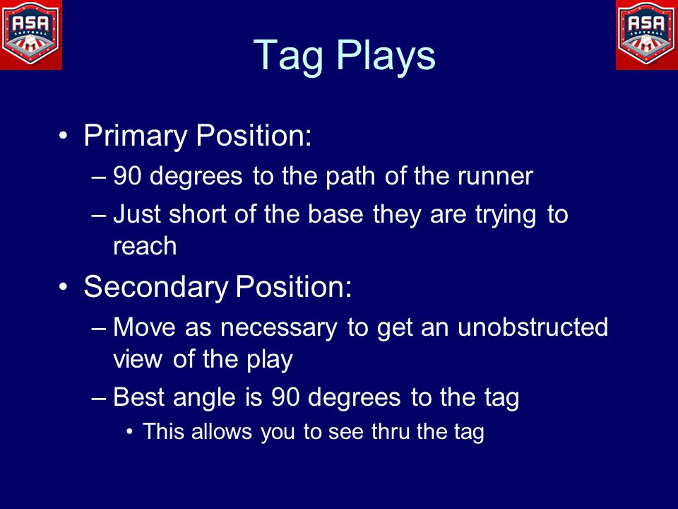 Tag Plays Primary Position: –90 degrees to the path of the runner –Just short of the base they are trying to reach Secondary Position: –Move as necessary to get an unobstructed view of the play –Best angle is 90 degrees to the tag This allows you to see thru the tag