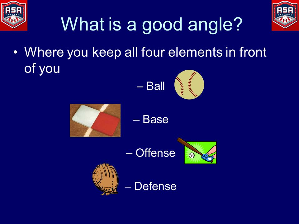 Force outs and Plays at 1B 90 degrees from the throw No further than a 45 o angle from the foul line at 1B
