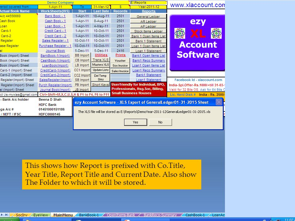 This shows how Report is prefixed with Co.Title, Year Title, Report Title and Current Date.
