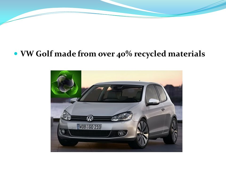 VW Golf made from over 40% recycled materials