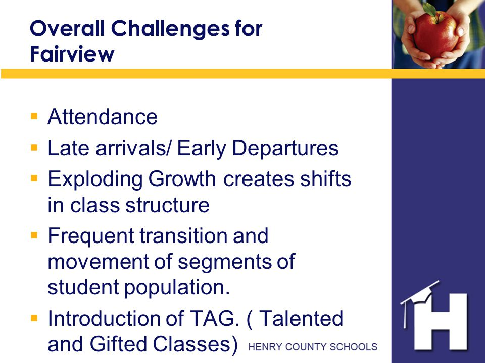 Overall Challenges for Fairview  Attendance  Late arrivals/ Early Departures  Exploding Growth creates shifts in class structure  Frequent transition and movement of segments of student population.
