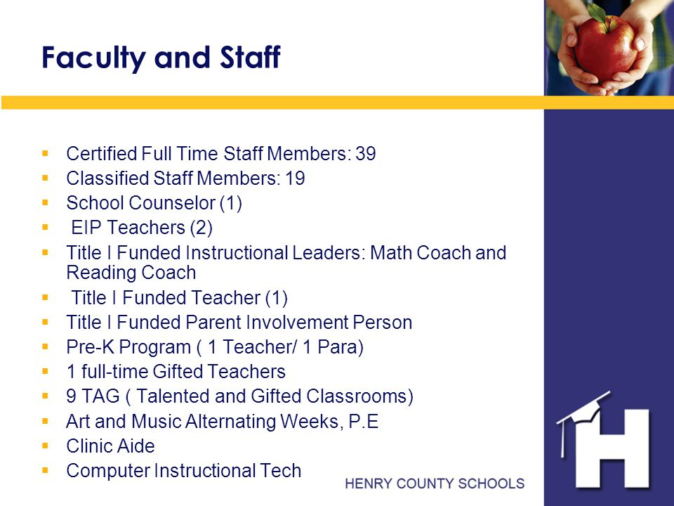 Faculty and Staff  Certified Full Time Staff Members: 39  Classified Staff Members: 19  School Counselor (1)  EIP Teachers (2)  Title I Funded Instructional Leaders: Math Coach and Reading Coach  Title I Funded Teacher (1)  Title I Funded Parent Involvement Person  Pre-K Program ( 1 Teacher/ 1 Para)  1 full-time Gifted Teachers  9 TAG ( Talented and Gifted Classrooms)  Art and Music Alternating Weeks, P.E  Clinic Aide  Computer Instructional Tech