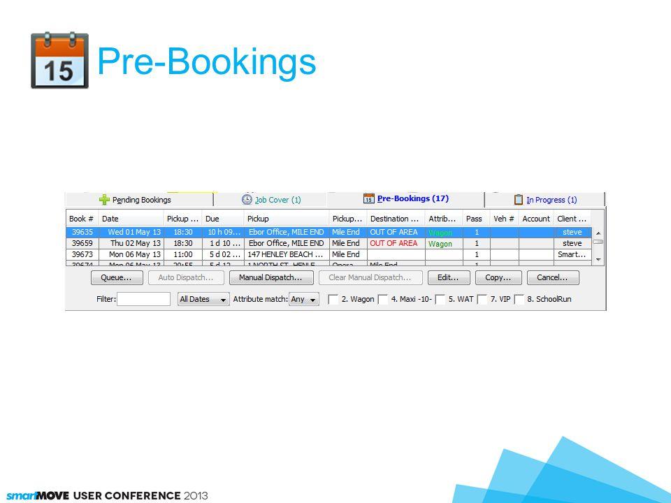 Pre-Bookings