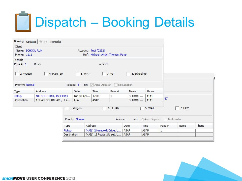 Dispatch – Booking Details