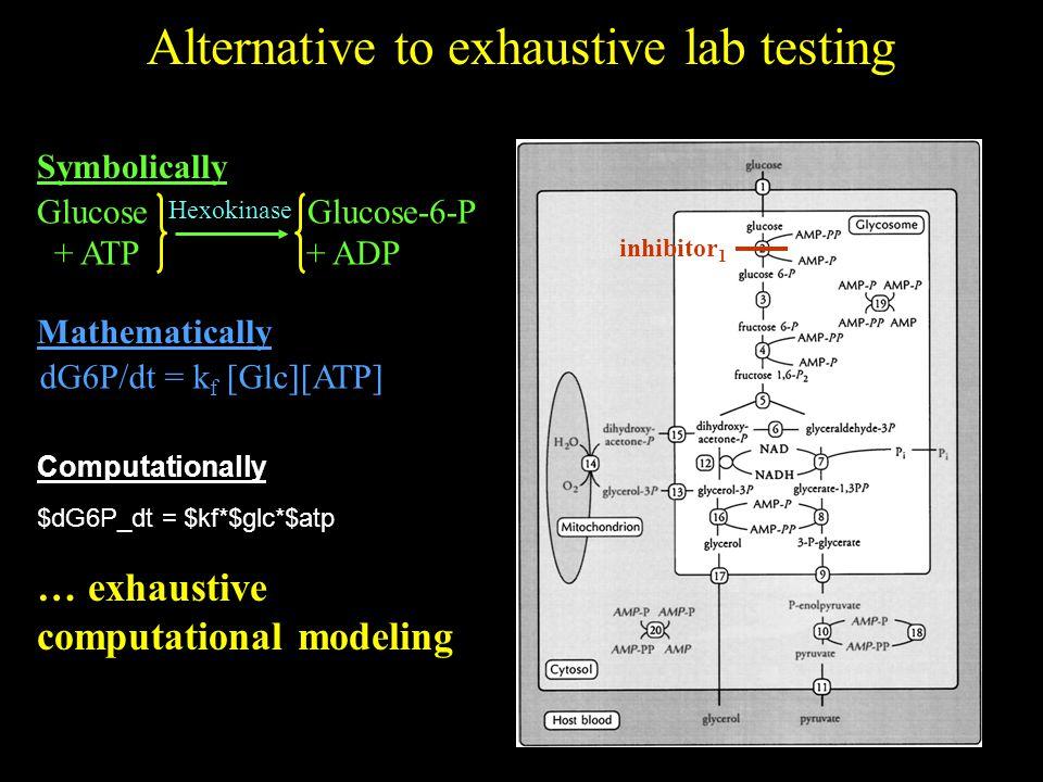 Alternative to exhaustive lab testing inhibitor 1 Glucose Glucose-6-P + ATP + ADP Hexokinase Symbolically dG6P/dt = k f [Glc][ATP] Mathematically $dG6P_dt = $kf*$glc*$atp Computationally … exhaustive computational modeling