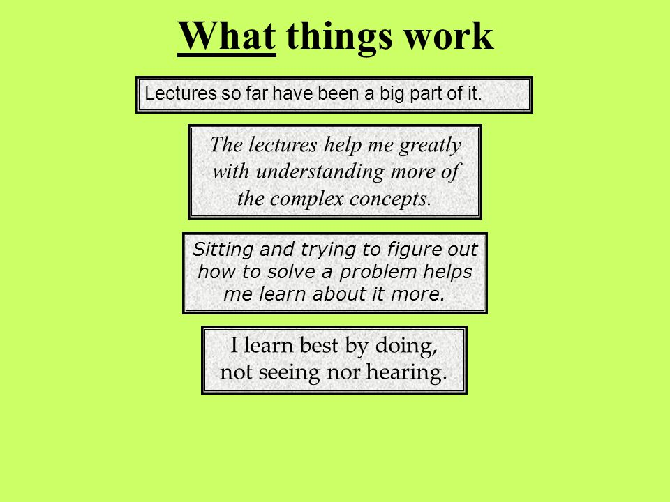 What things work I learn best by doing, not seeing nor hearing.