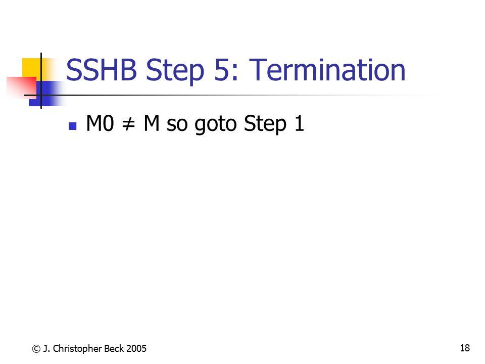 © J. Christopher Beck 2005 18 SSHB Step 5: Termination M0 ≠ M so goto Step 1