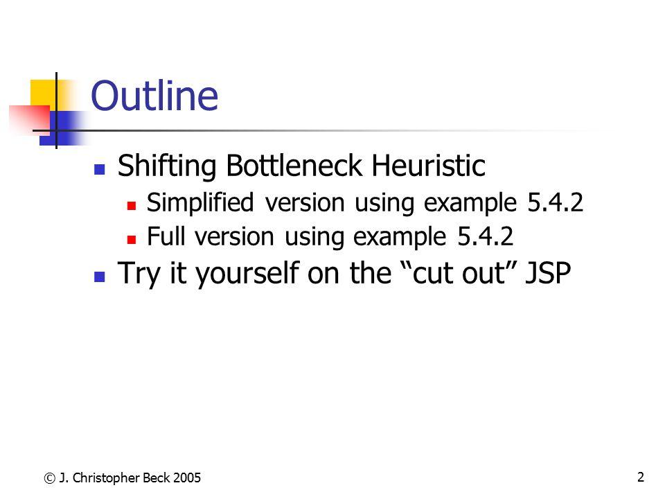 © J. Christopher Beck 2005 2 Outline Shifting Bottleneck Heuristic Simplified version using example 5.4.2 Full version using example 5.4.2 Try it your