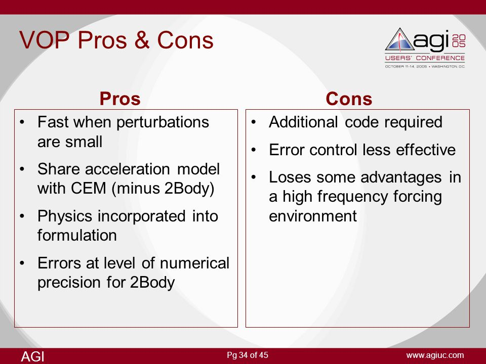 Pg 34 of 45 AGI www.agiuc.com VOP Pros & Cons Fast when perturbations are small Share acceleration model with CEM (minus 2Body) Physics incorporated i